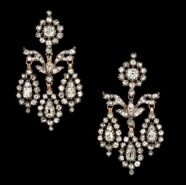 A pair of diamond girandole ear pendants.jpg Image