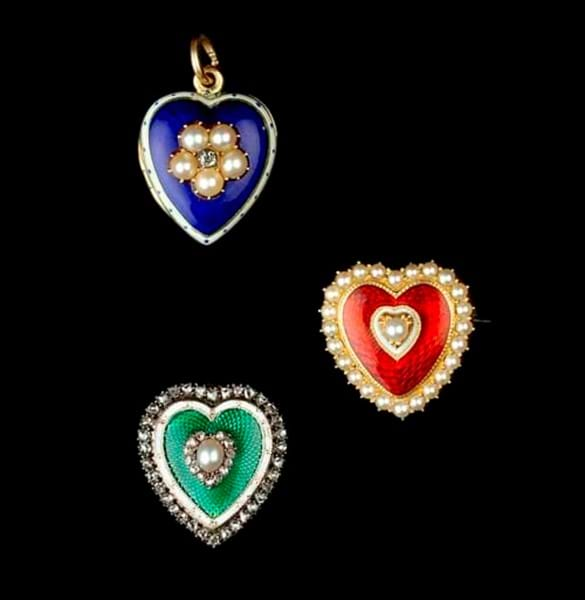 A selection of enamel and gem set sweetheart jewels.jpg Image